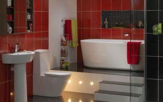 Красно-белая ванная комната 30 удачных идей