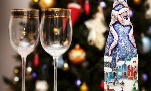 Декупаж бутылок шампанского на Новый год