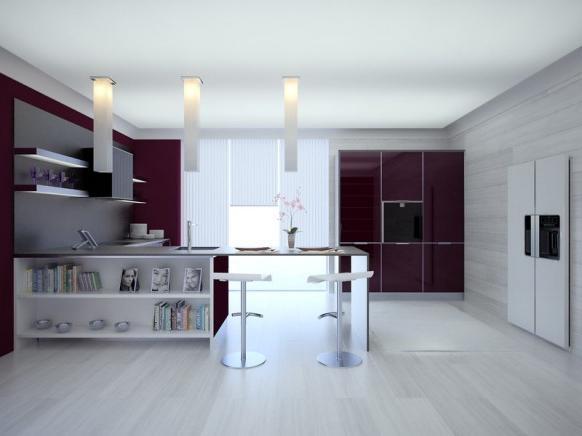 Дизайн кухни студии в светлых тонах