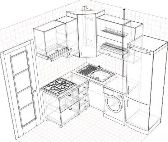 Г-образный дизайн кухни