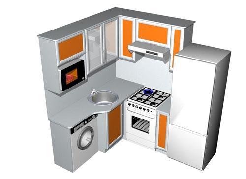 Г образный дизайн кухни