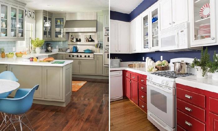 интерьер кухни с разными оттенками