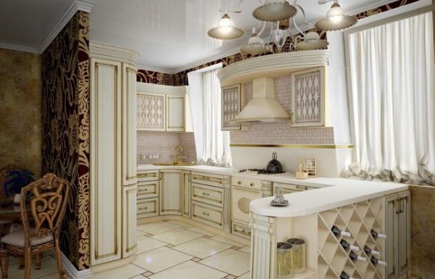 Классический стиль кухни студии