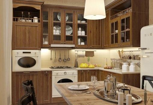 Кухня студия в стиле кантри