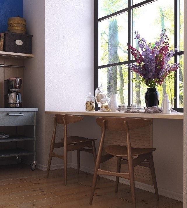 Кухонный стол-подоконник