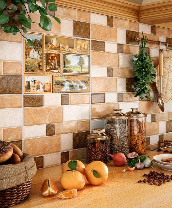 Оформление стен кухни плиткой