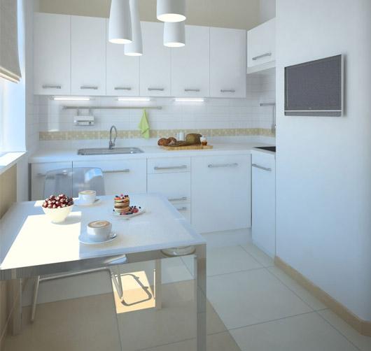 Практичная маленькая угловая кухня