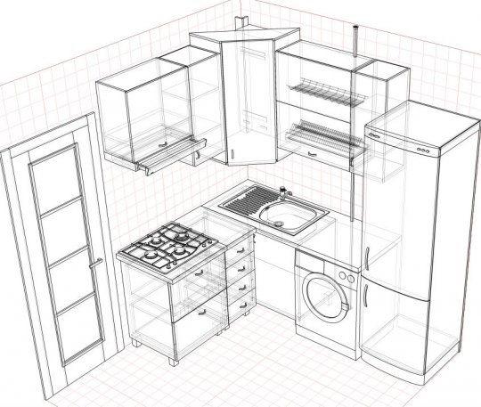 Расстановка мебели и техники на кухне