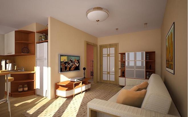 совмещение с гостиной позволяет визуально увеличить пространство