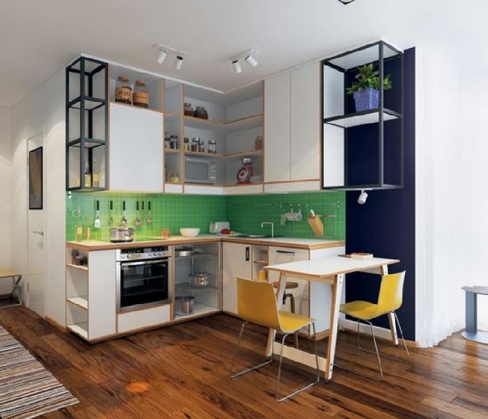 цветная мебель в кухне