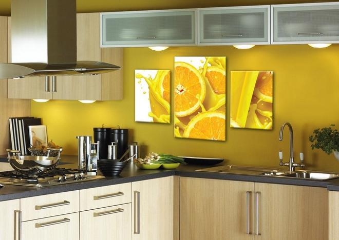 Яркое оформление кухонных стен