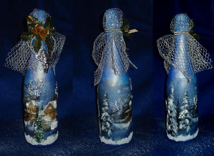 декупаж синим цветом бутылки шампанского