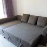 большой коричневый раскладной диван икеа