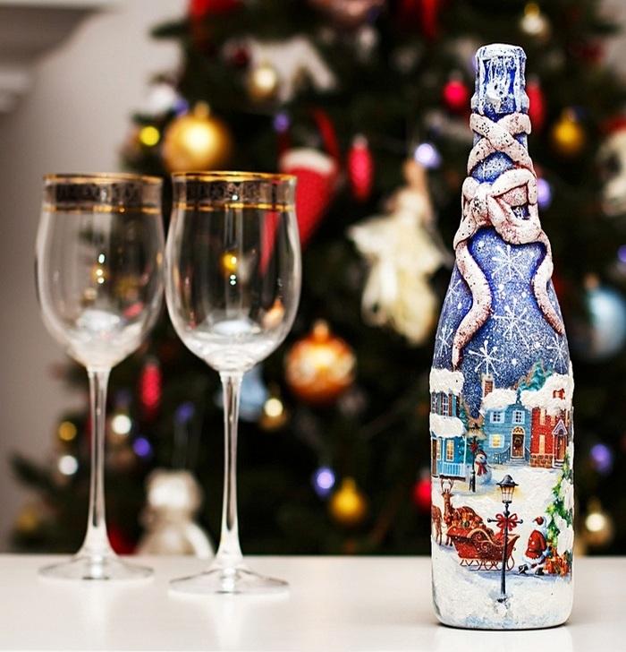 04-5 Бутылка шампанского на Новый год своими руками. 50 идей и подробные мастер-классы с фото