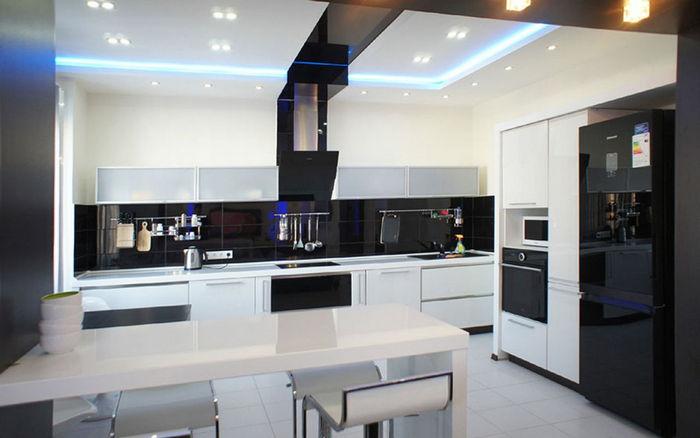 подсветка на кухне хай тек