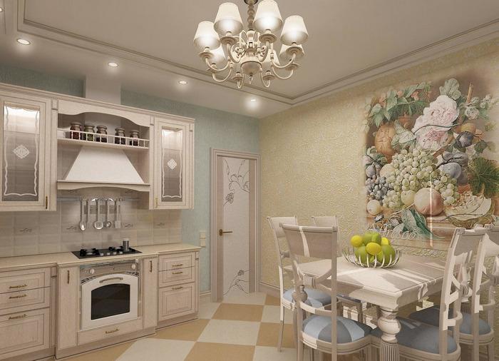 картина на кухне создавала впечатление стильной декорации 06