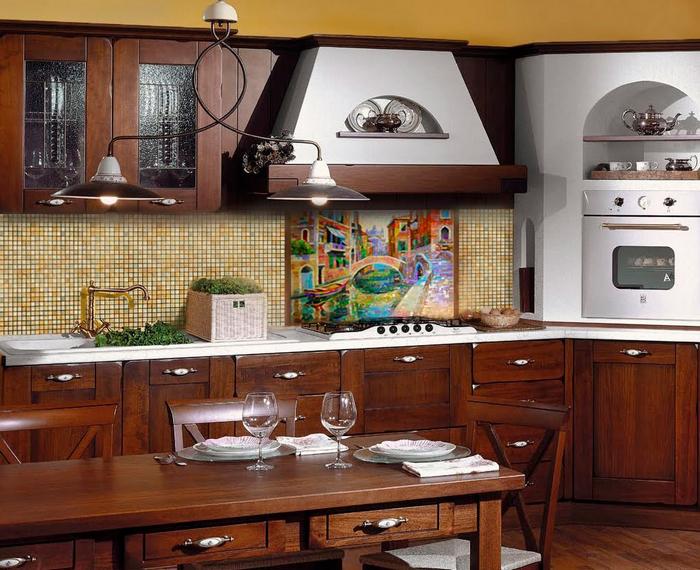 картина в дизайне кухни