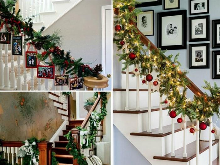 украшение лестницы в доме к новому году