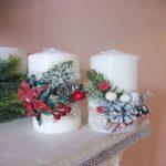 белые декорированные свечи для НГ