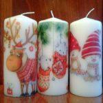 свеча с гномами, оленями и животными