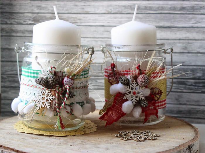 свечи декорированные в баночке