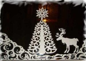 елка и олень из бумаги