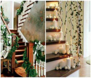 декорированная лестница в доме к новому году 45