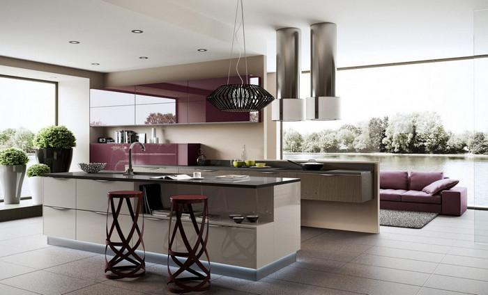 освещение на кухне стиля hi tech
