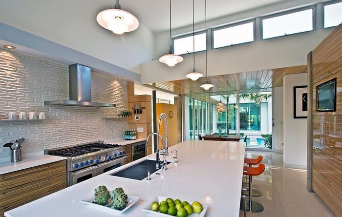 освещение на кухне стиля hi tech 15а