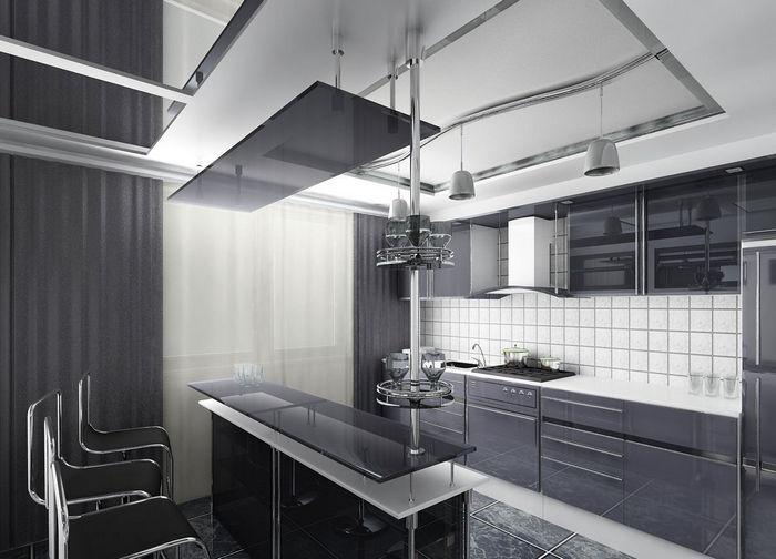 освещение на кухне стиля hi tech 15b