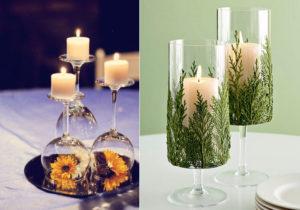 свечи в бокалах в оформлении мишурой