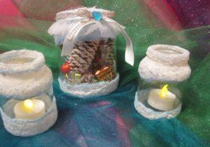 свечи в баночках, декор, шишки