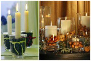 свечи в стакане с зернами
