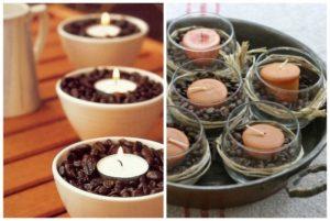 свечи в чашах с зернами