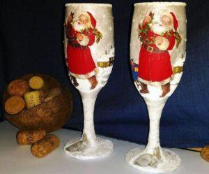 декупаж бокалов шампанского с дедом морозом
