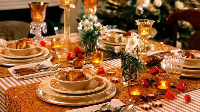 праздничный декор стола свечами