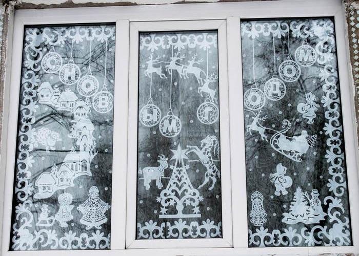 декор новогоднего окна 4