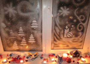 красивые рисунки на окне спреем