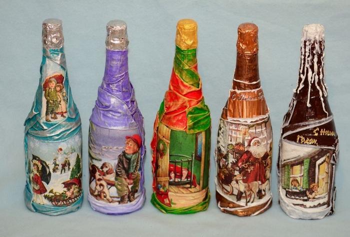 5 бутылок с декупажем