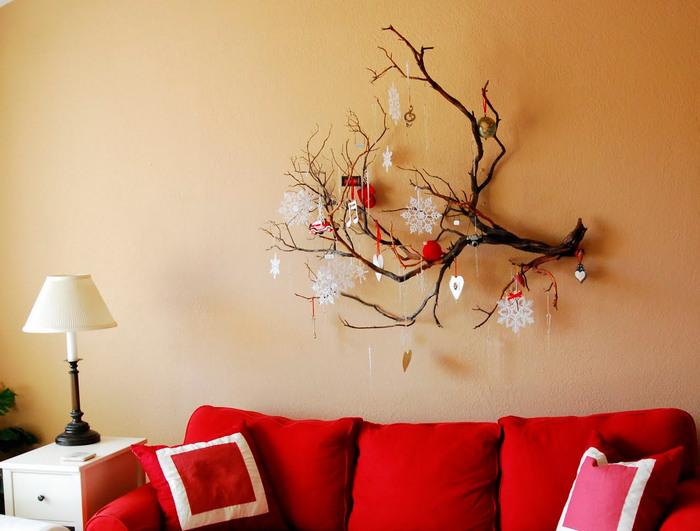 декор стены на новый год