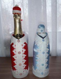 декупаж бутылка дед мороз и снегурочка