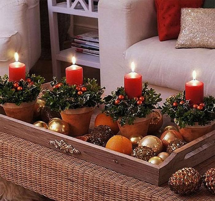 новогодние горшочки со свечами