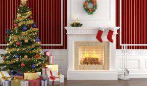 новогодний декор дома с каминами