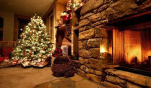 новогодний декор дома с каминами 2