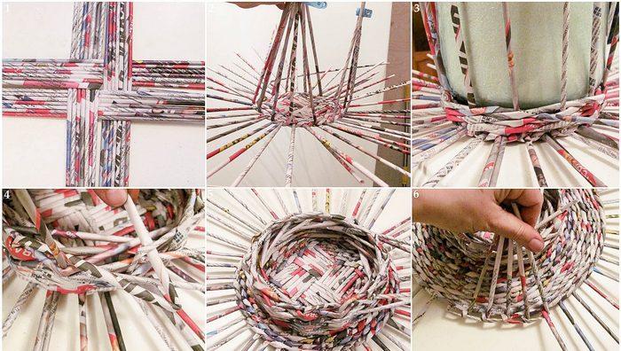 плетение органайзеров из бумаги