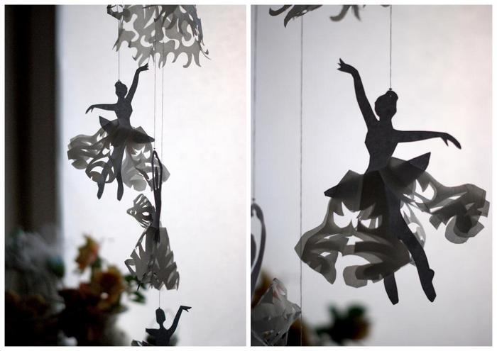 балерины из бумаги на окно