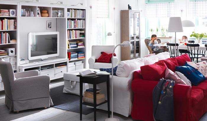 Оформление гостиной ИКЕА текстилем