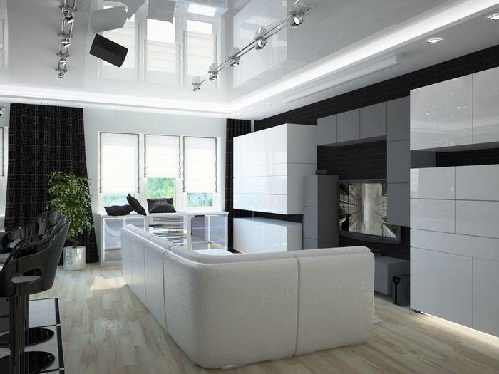 натяжной потолок в кухне хай-тек