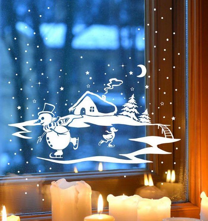 вытынанки со снеговиком