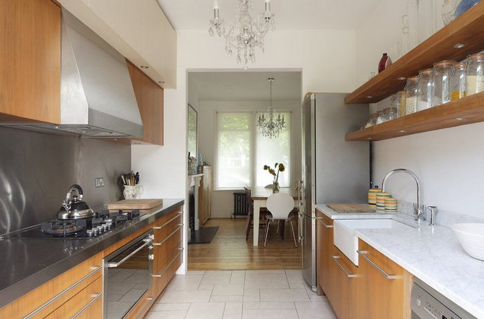 параллельные стены для кухни в 12 м2